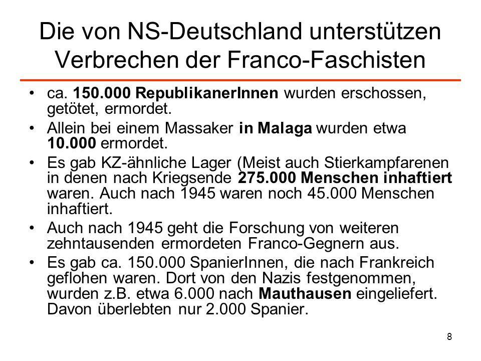 Die von NS-Deutschland unterstützen Verbrechen der Franco-Faschisten