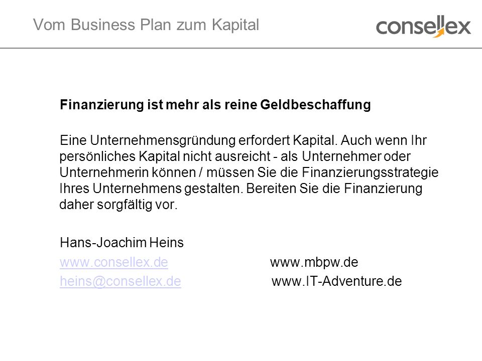 Vom Business Plan zum Kapital