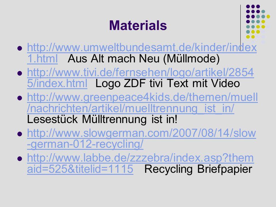 Materials http://www.umweltbundesamt.de/kinder/index1.html Aus Alt mach Neu (Müllmode)