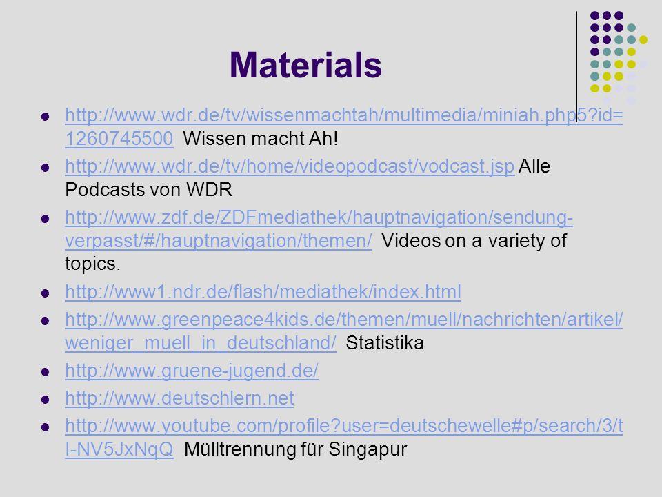 Materials http://www.wdr.de/tv/wissenmachtah/multimedia/miniah.php5 id=1260745500 Wissen macht Ah!