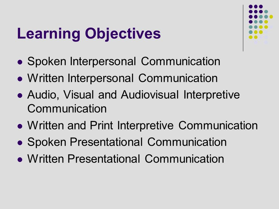 Learning Objectives Spoken Interpersonal Communication