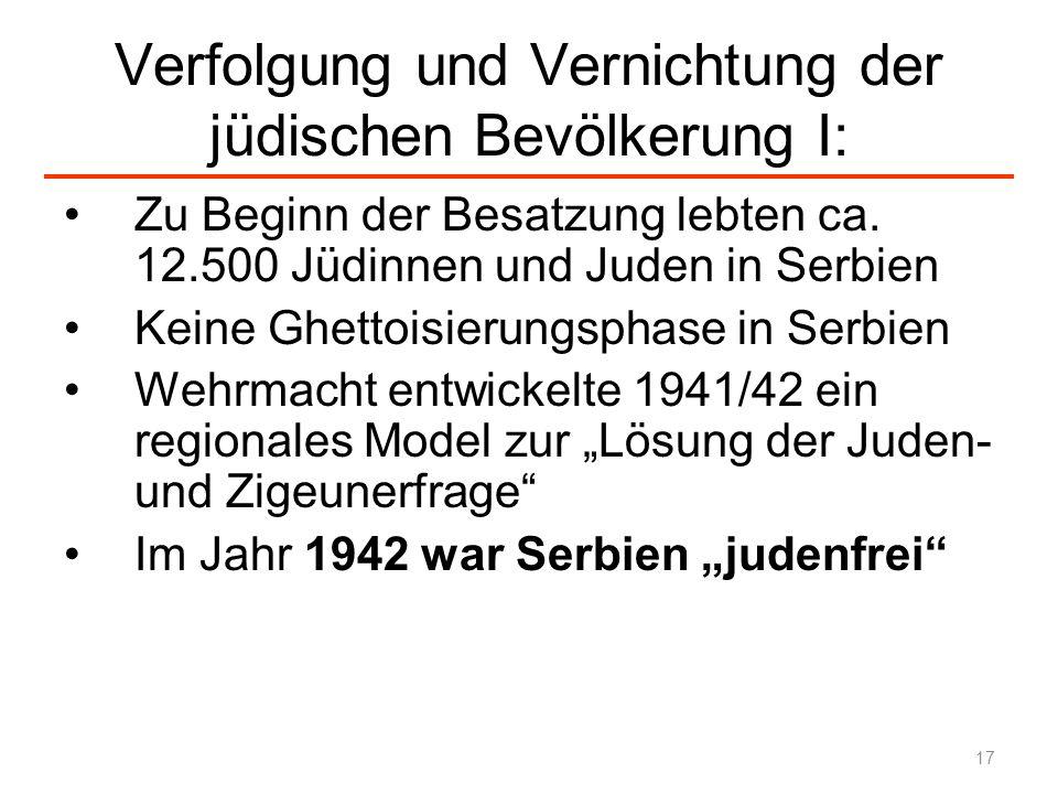 Verfolgung und Vernichtung der jüdischen Bevölkerung I: