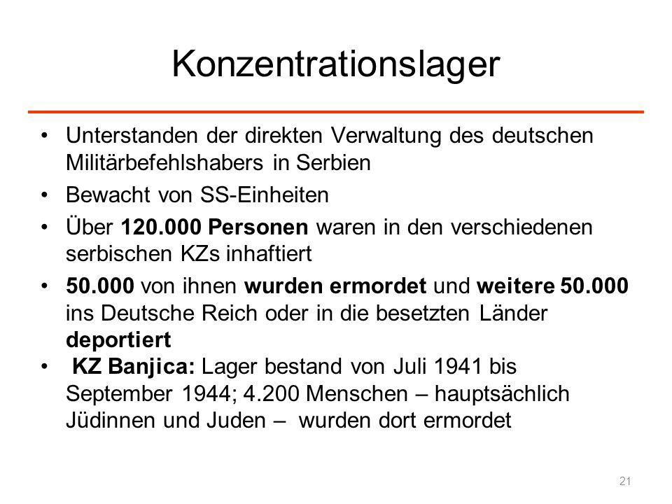 Konzentrationslager Unterstanden der direkten Verwaltung des deutschen Militärbefehlshabers in Serbien.