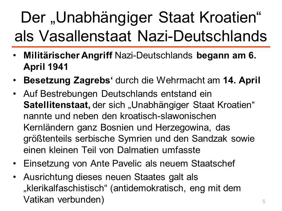 """Der """"Unabhängiger Staat Kroatien als Vasallenstaat Nazi-Deutschlands"""