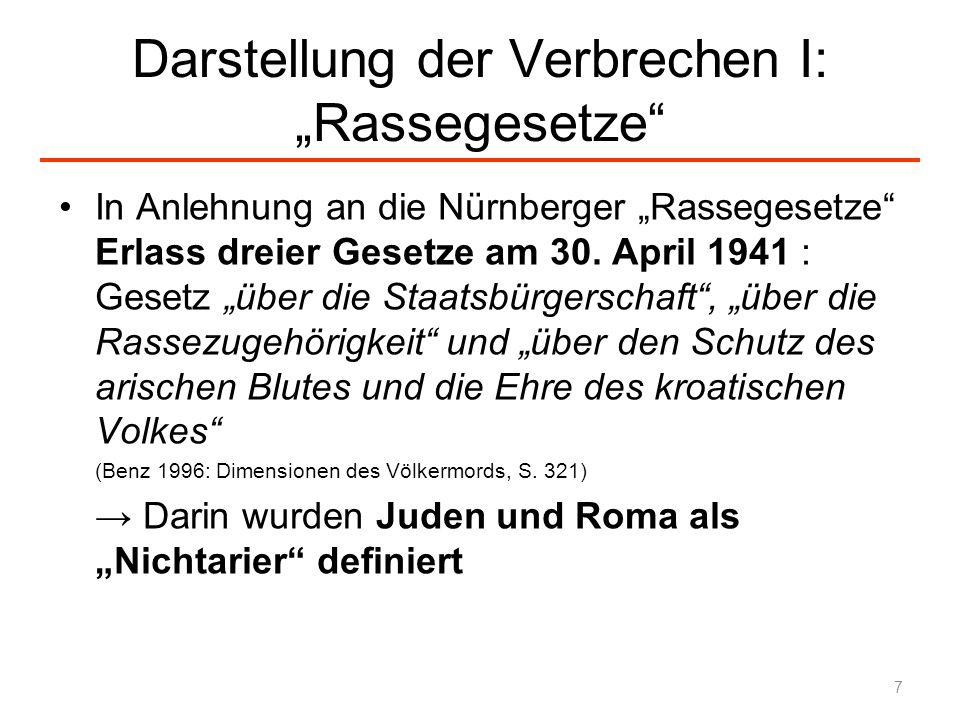 """Darstellung der Verbrechen I: """"Rassegesetze"""
