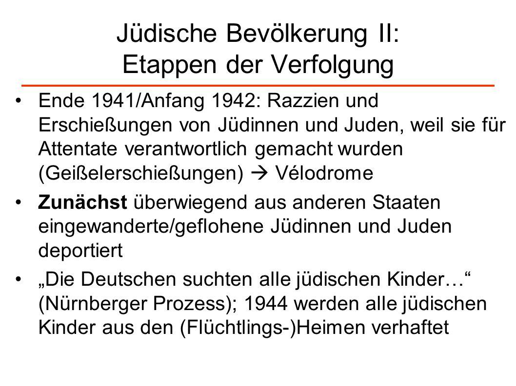 Jüdische Bevölkerung II: Etappen der Verfolgung