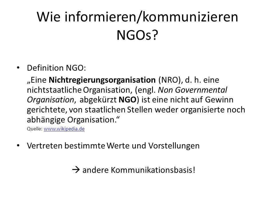 Wie informieren/kommunizieren NGOs