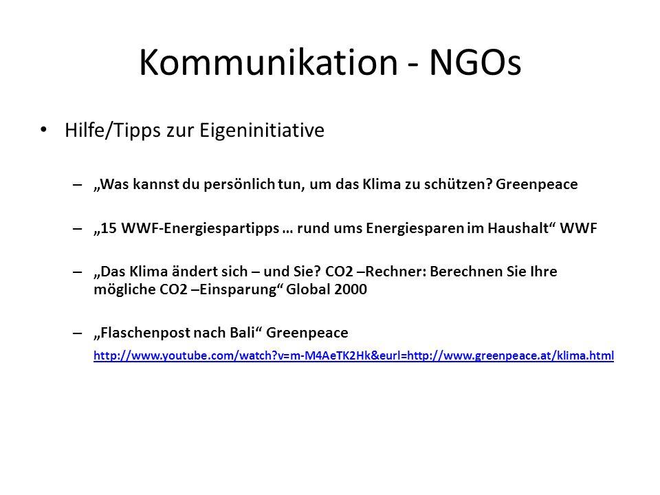 Kommunikation - NGOs Hilfe/Tipps zur Eigeninitiative