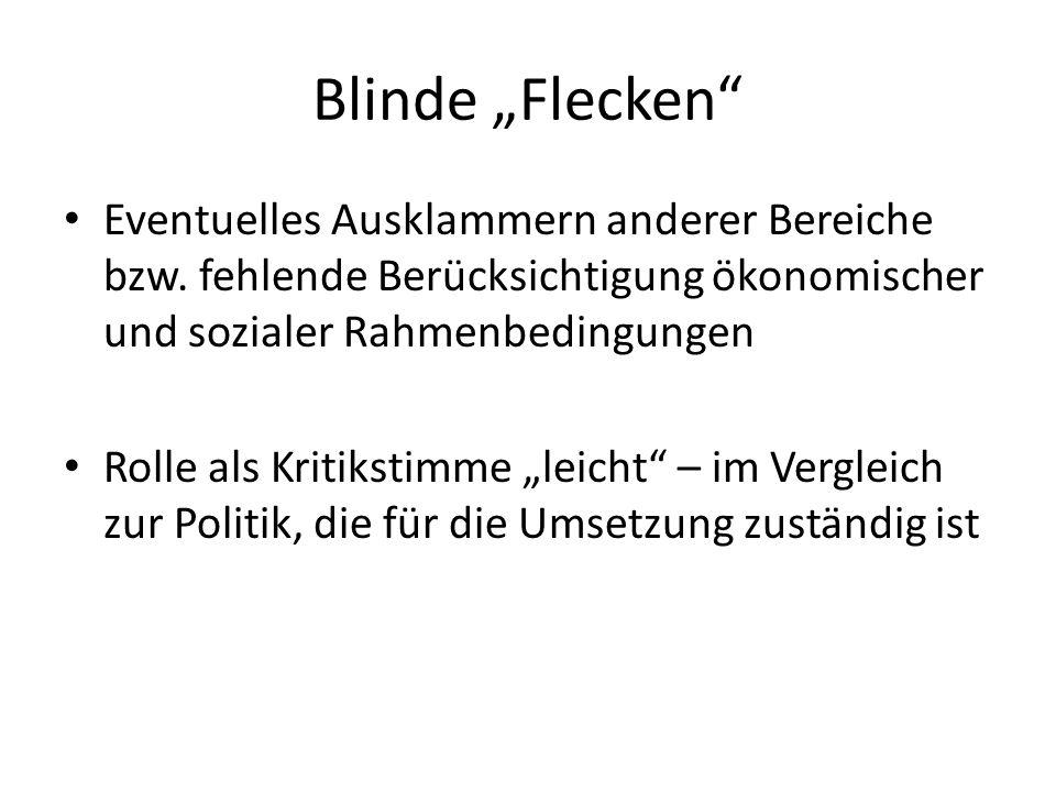 """Blinde """"Flecken Eventuelles Ausklammern anderer Bereiche bzw. fehlende Berücksichtigung ökonomischer und sozialer Rahmenbedingungen."""