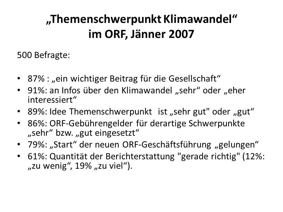 """""""Themenschwerpunkt Klimawandel im ORF, Jänner 2007"""