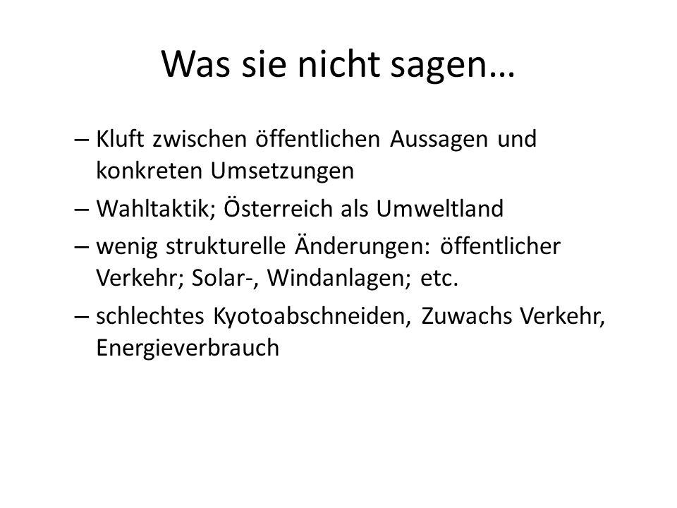Was sie nicht sagen… Kluft zwischen öffentlichen Aussagen und konkreten Umsetzungen. Wahltaktik; Österreich als Umweltland.