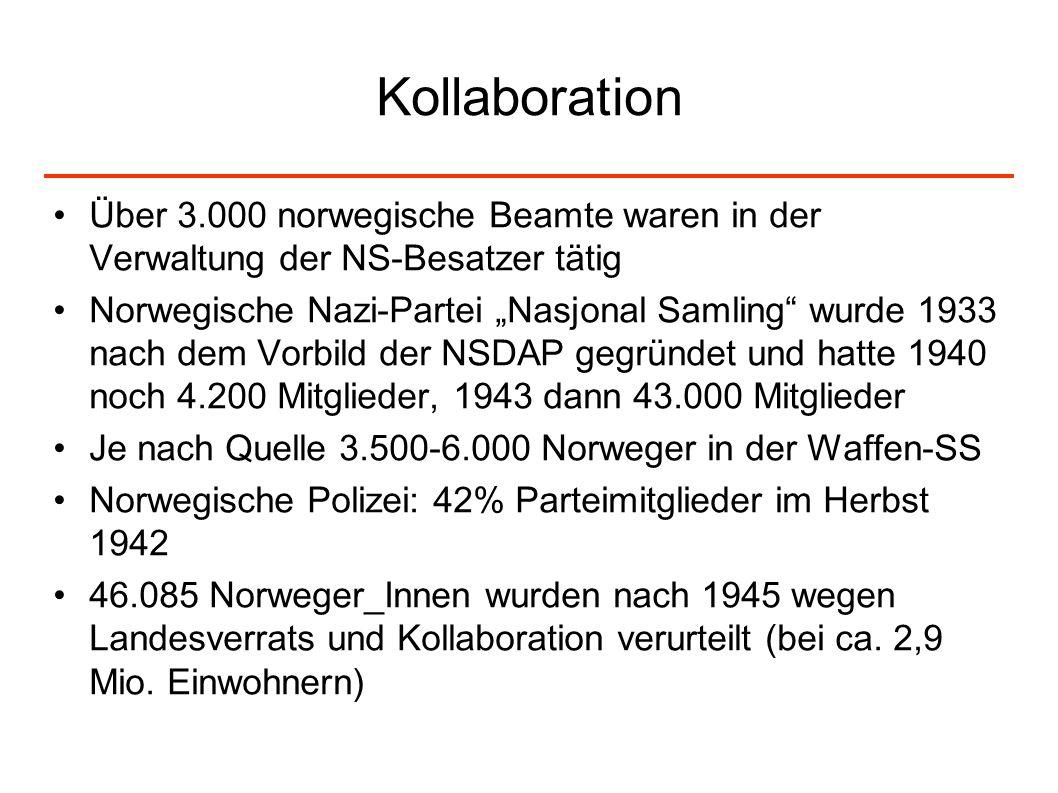 KollaborationÜber 3.000 norwegische Beamte waren in der Verwaltung der NS-Besatzer tätig.