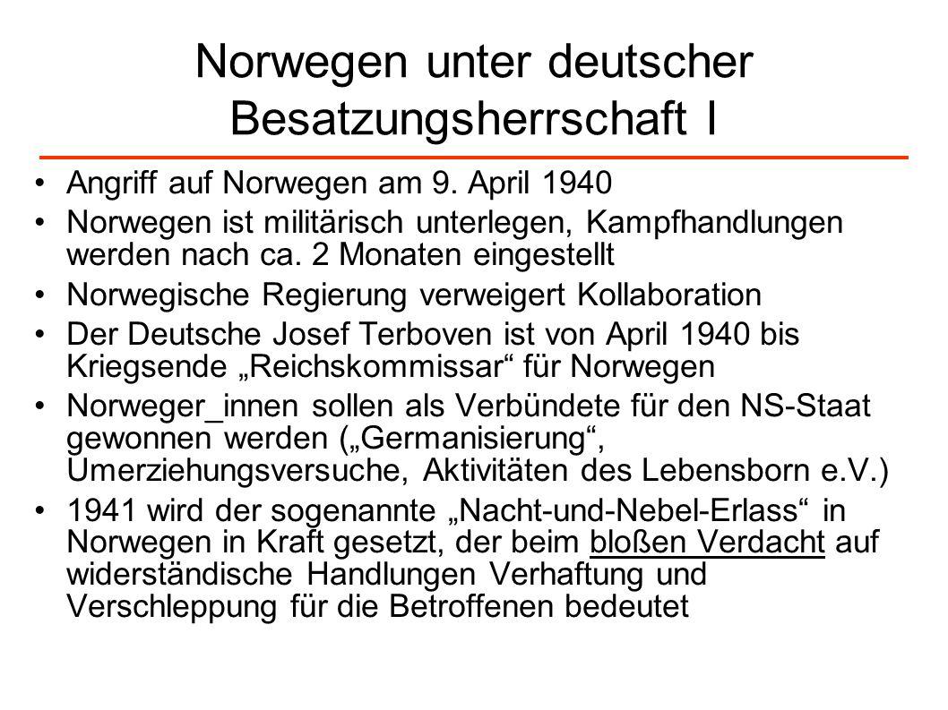 Norwegen unter deutscher Besatzungsherrschaft I