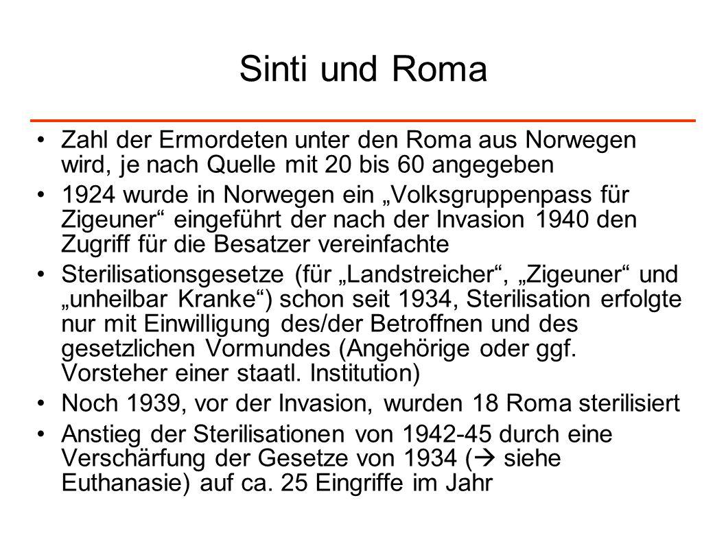 Sinti und Roma Zahl der Ermordeten unter den Roma aus Norwegen wird, je nach Quelle mit 20 bis 60 angegeben.