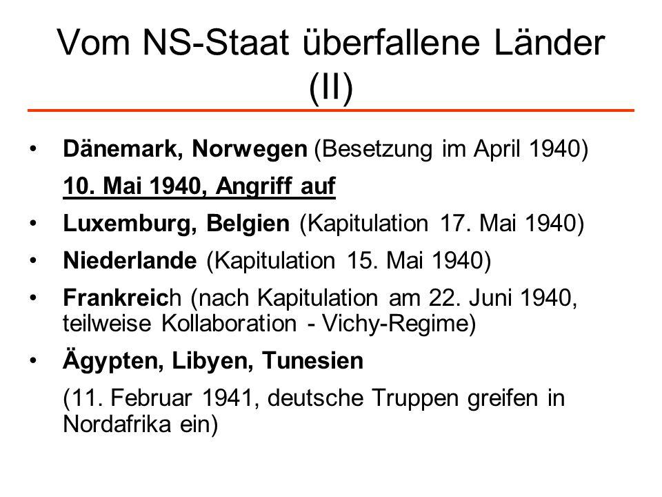 Vom NS-Staat überfallene Länder (II)