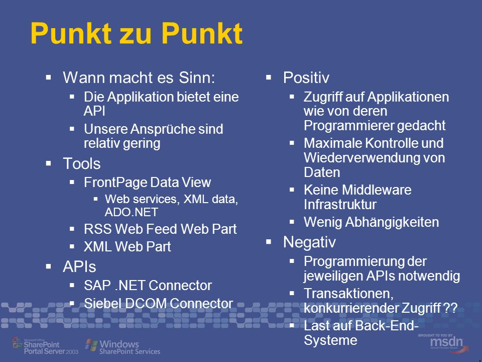 Punkt zu Punkt Wann macht es Sinn: Tools APIs Positiv Negativ