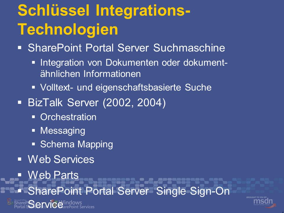 Schlüssel Integrations- Technologien