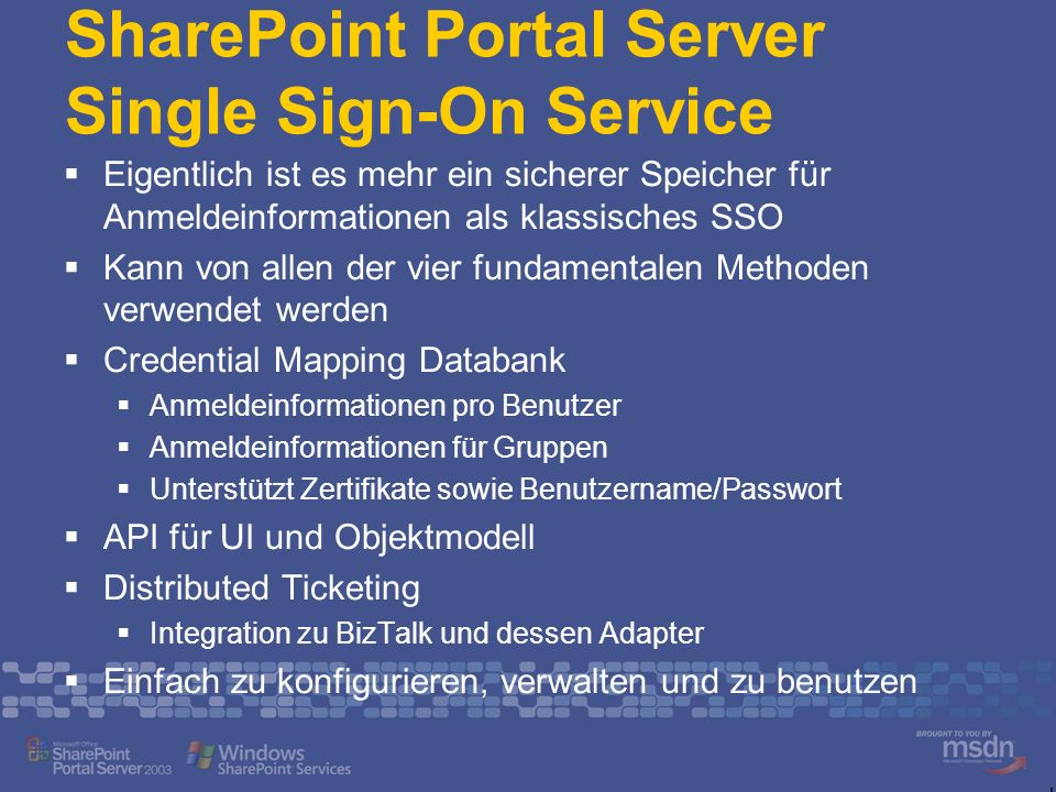 SharePoint Portal Server Single Sign-On Service