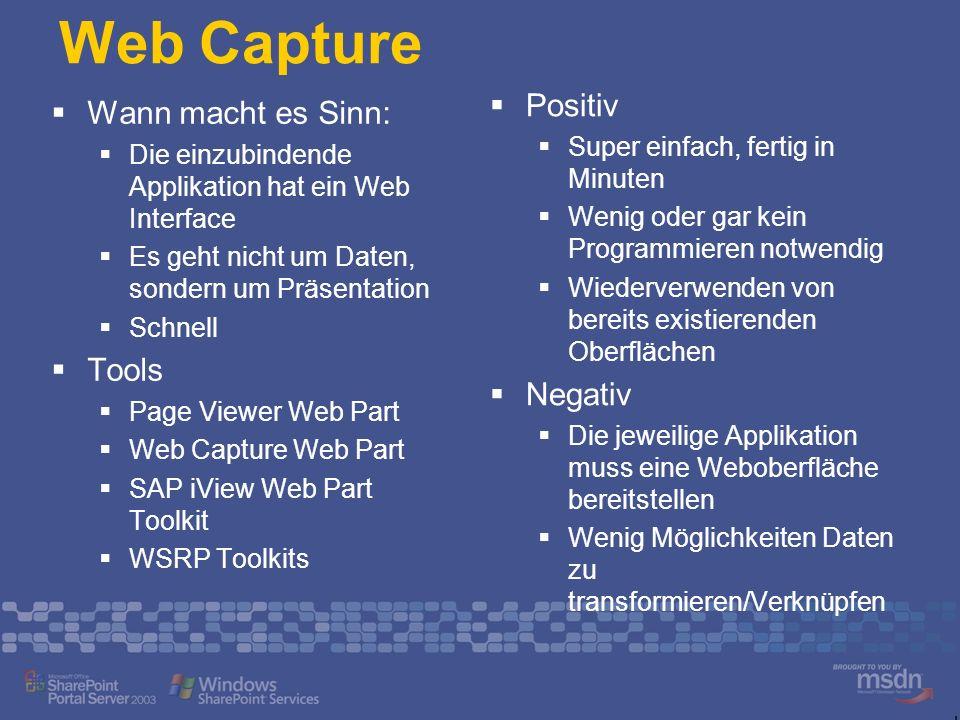Web Capture Positiv Wann macht es Sinn: Tools Negativ
