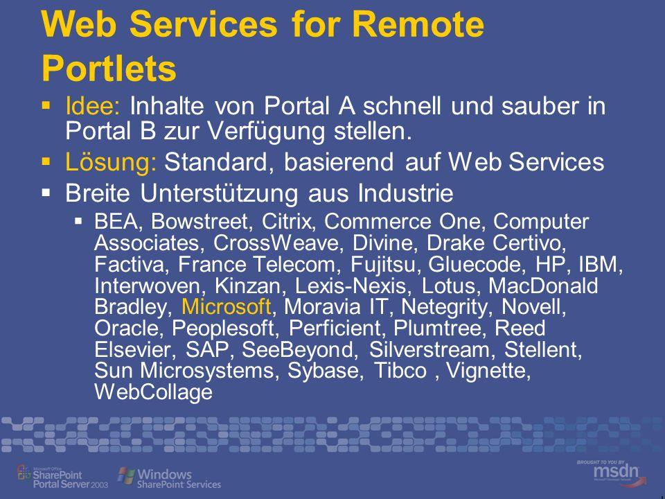 Web Services for Remote Portlets