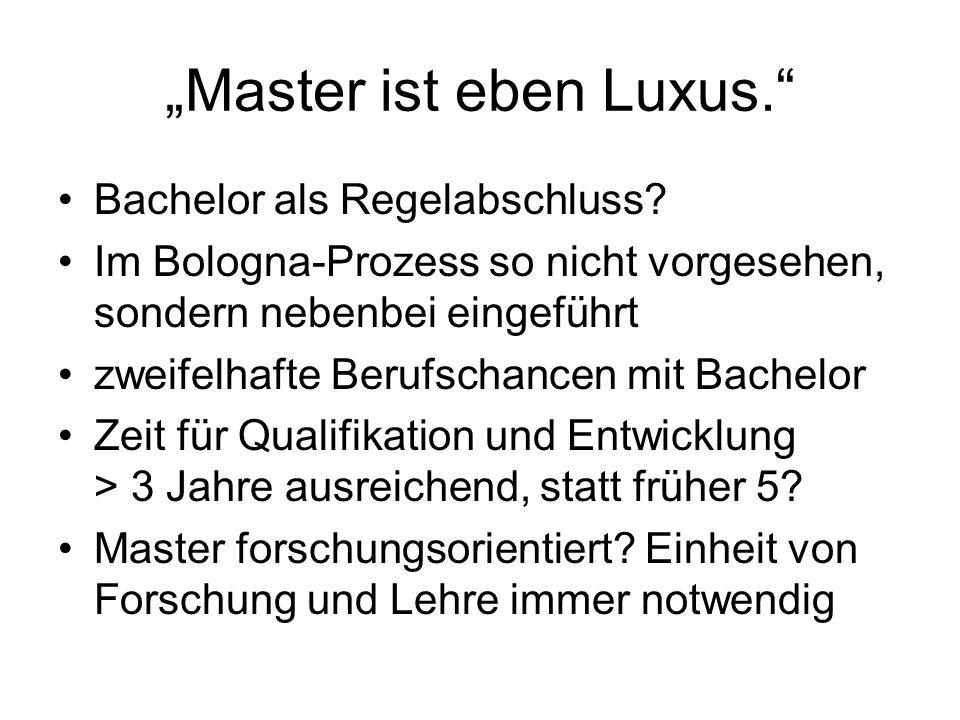 """""""Master ist eben Luxus."""