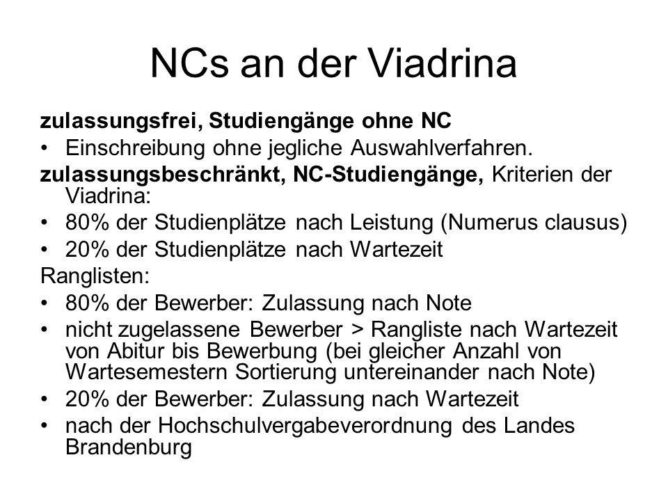 NCs an der Viadrina zulassungsfrei, Studiengänge ohne NC