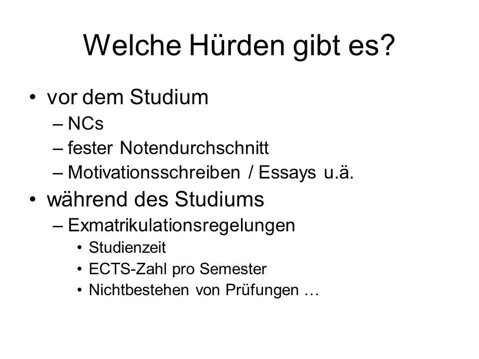 Welche Hürden gibt es vor dem Studium während des Studiums NCs
