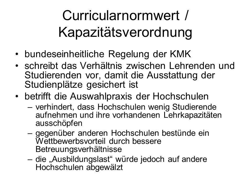 Curricularnormwert / Kapazitätsverordnung