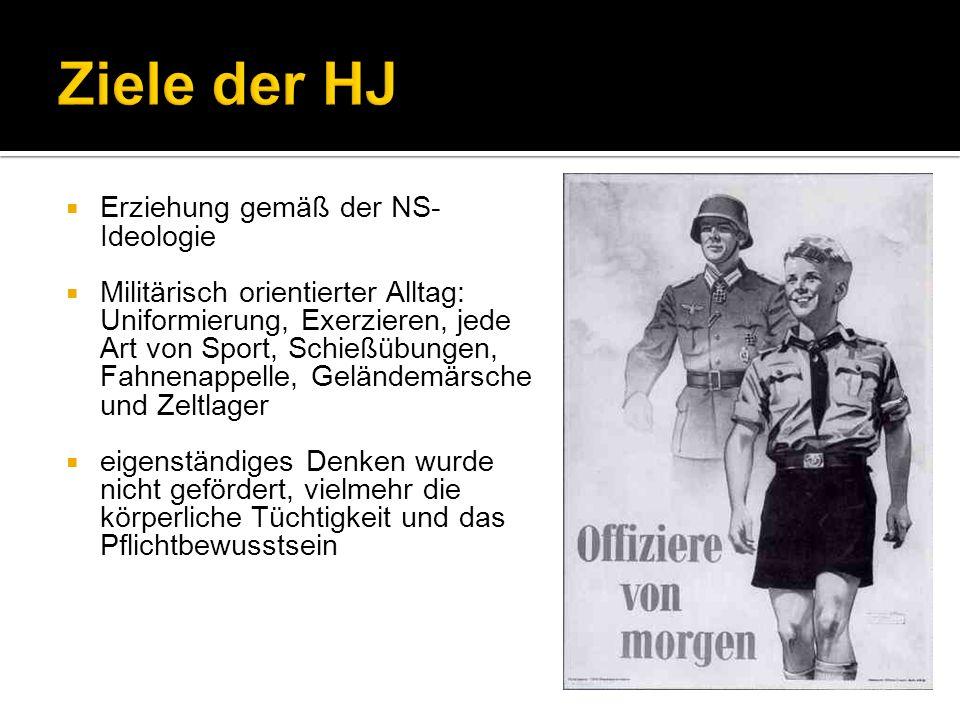 Ziele der HJ Erziehung gemäß der NS-Ideologie