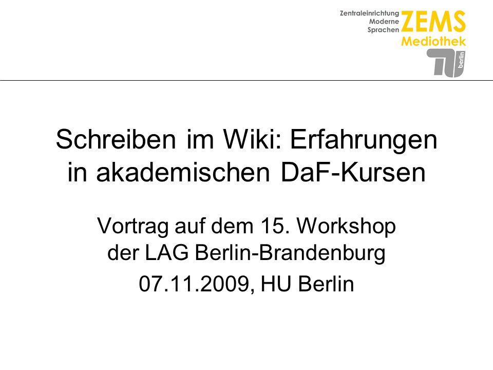 Schreiben im Wiki: Erfahrungen in akademischen DaF-Kursen