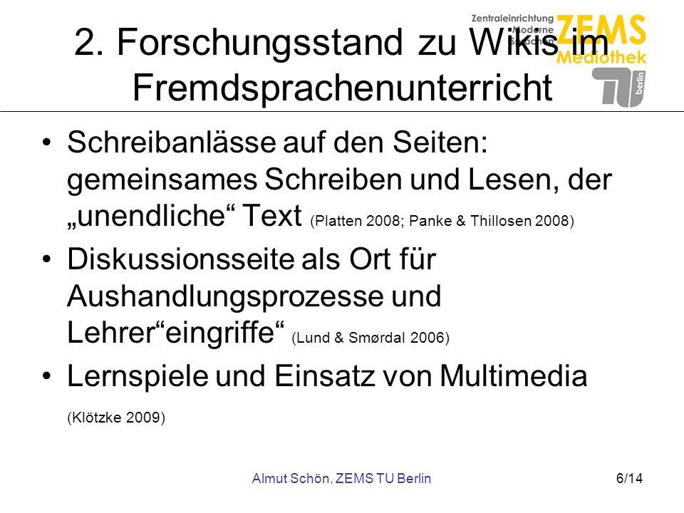 2. Forschungsstand zu Wikis im Fremdsprachenunterricht