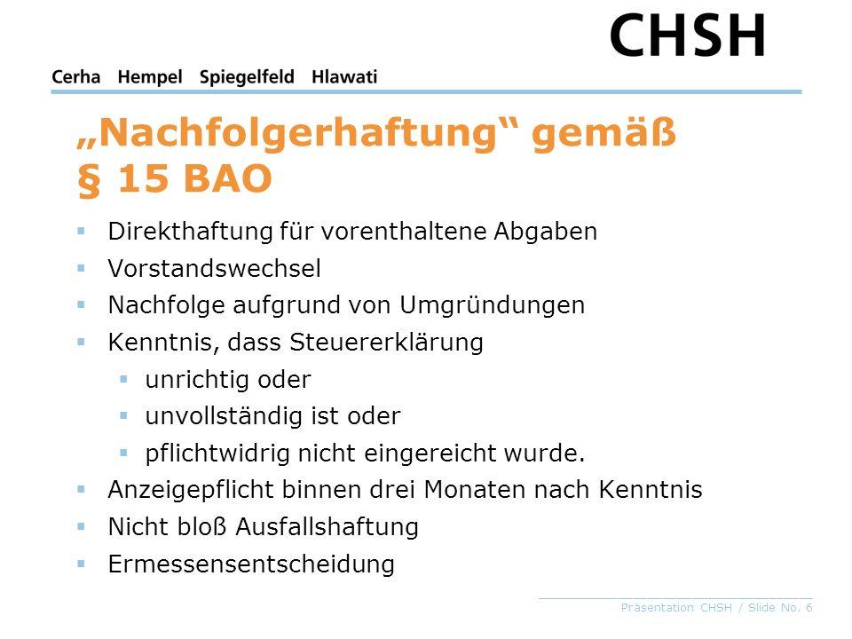 """""""Nachfolgerhaftung gemäß § 15 BAO"""