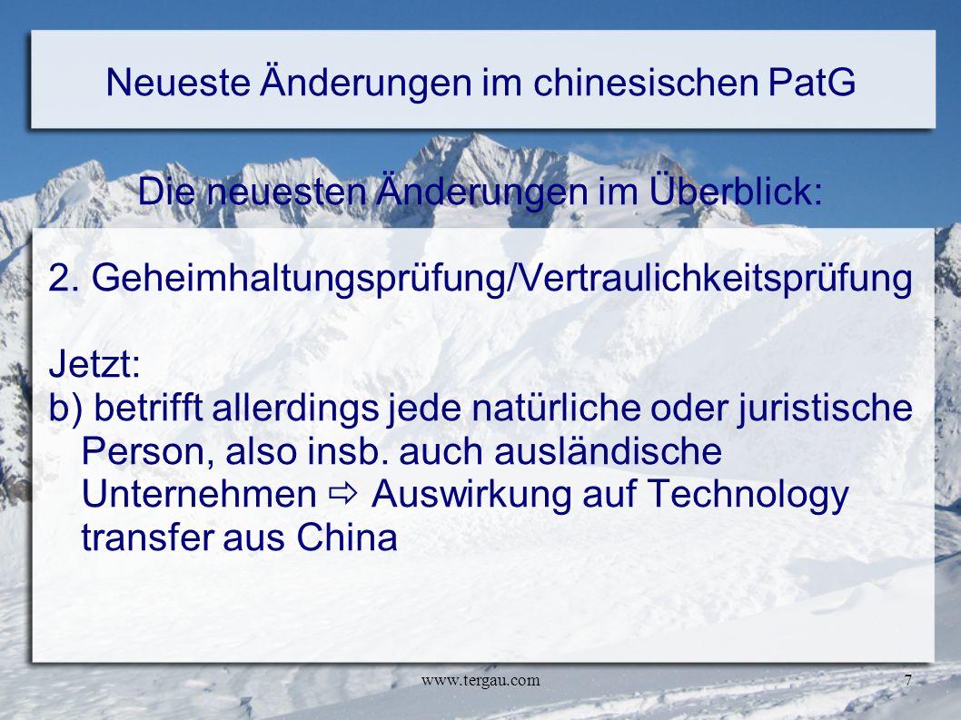 Neueste Änderungen im chinesischen PatG