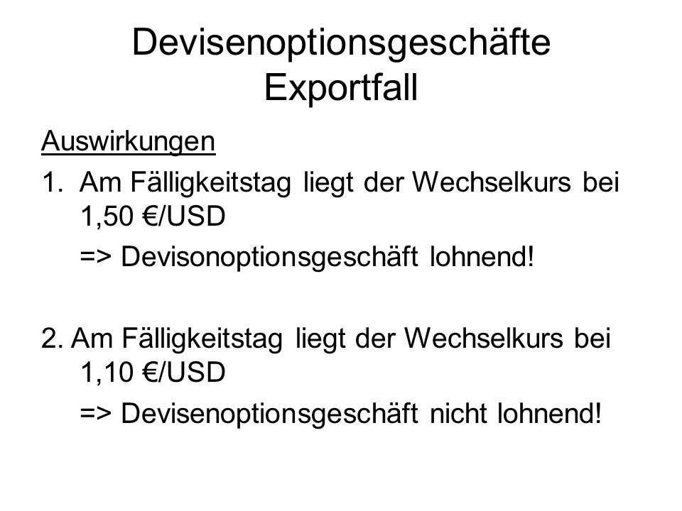 Devisenoptionsgeschäfte Exportfall