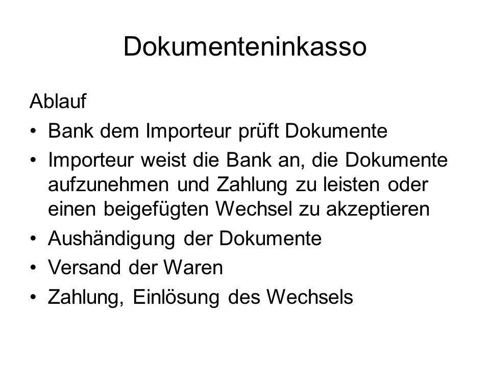 Dokumenteninkasso Ablauf Bank dem Importeur prüft Dokumente