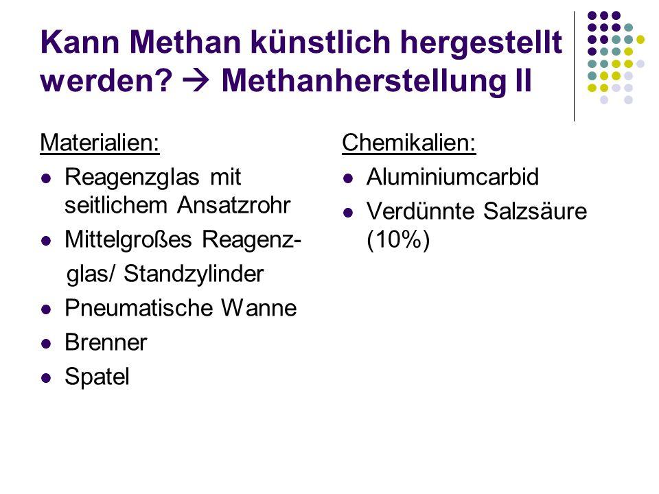 Kann Methan künstlich hergestellt werden  Methanherstellung II