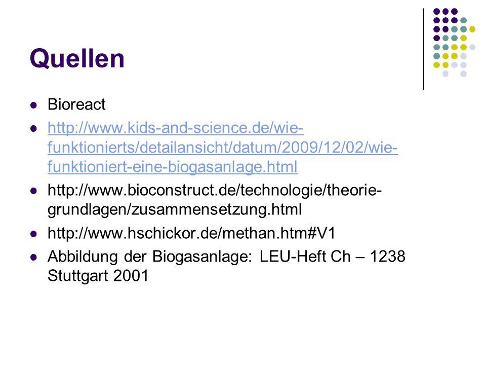 QuellenBioreact. http://www.kids-and-science.de/wie-funktionierts/detailansicht/datum/2009/12/02/wie-funktioniert-eine-biogasanlage.html.