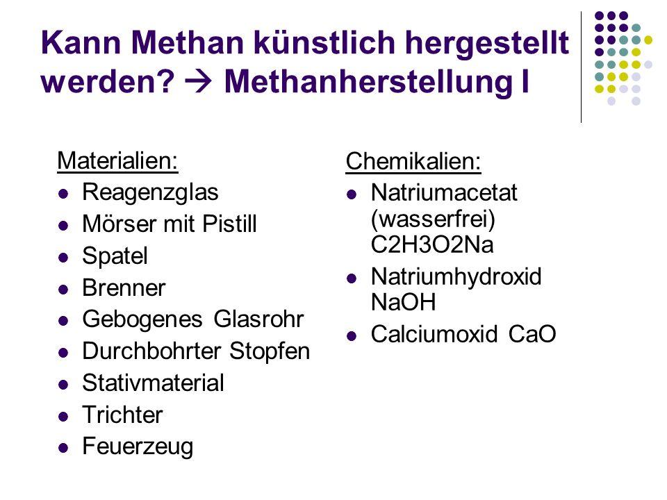 Kann Methan künstlich hergestellt werden  Methanherstellung I