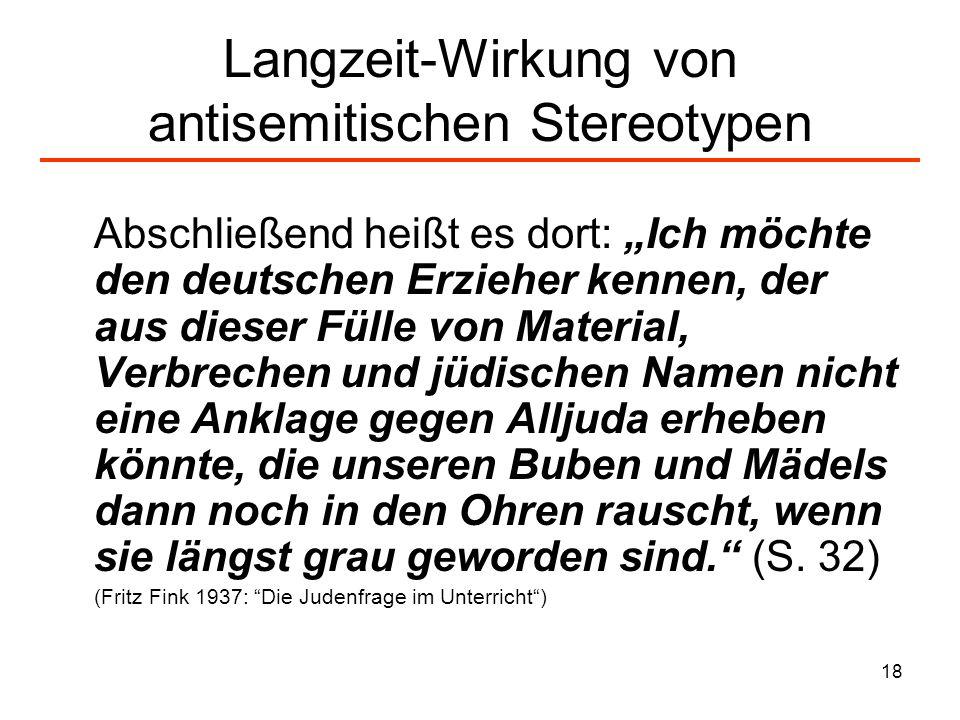 Langzeit-Wirkung von antisemitischen Stereotypen