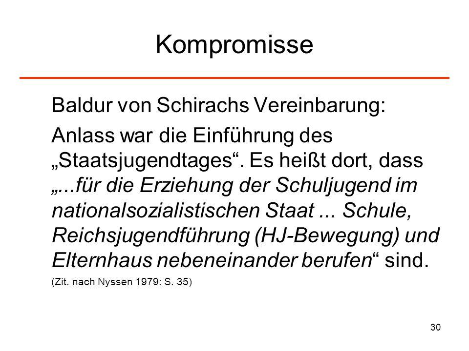 Kompromisse Baldur von Schirachs Vereinbarung: