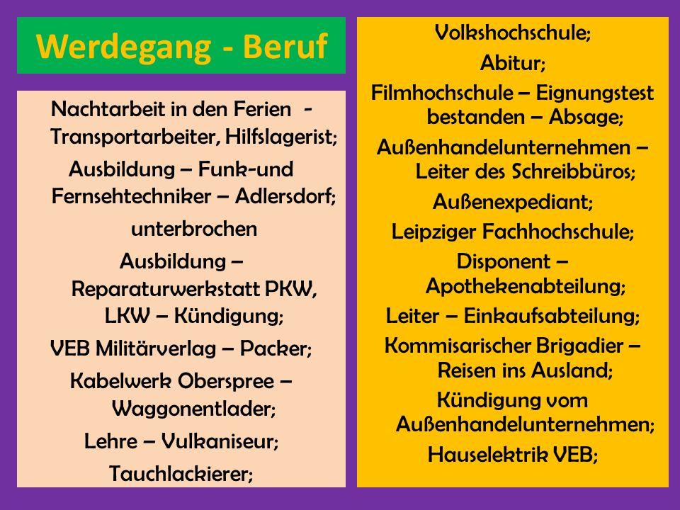 Werdegang - Beruf Volkshochschule; Abitur;