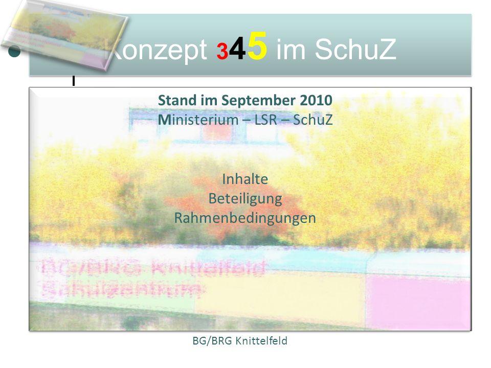 Konzept 345 im SchuZ Stand im September 2010 Ministerium – LSR – SchuZ