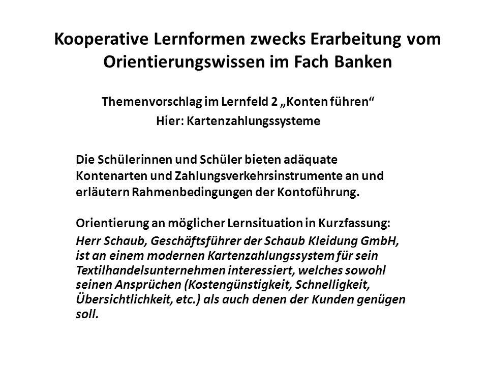 Kooperative Lernformen zwecks Erarbeitung vom Orientierungswissen im Fach Banken