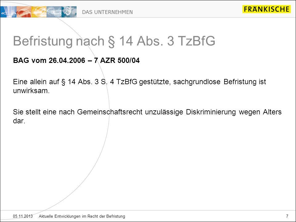 Befristung nach § 14 Abs. 3 TzBfG