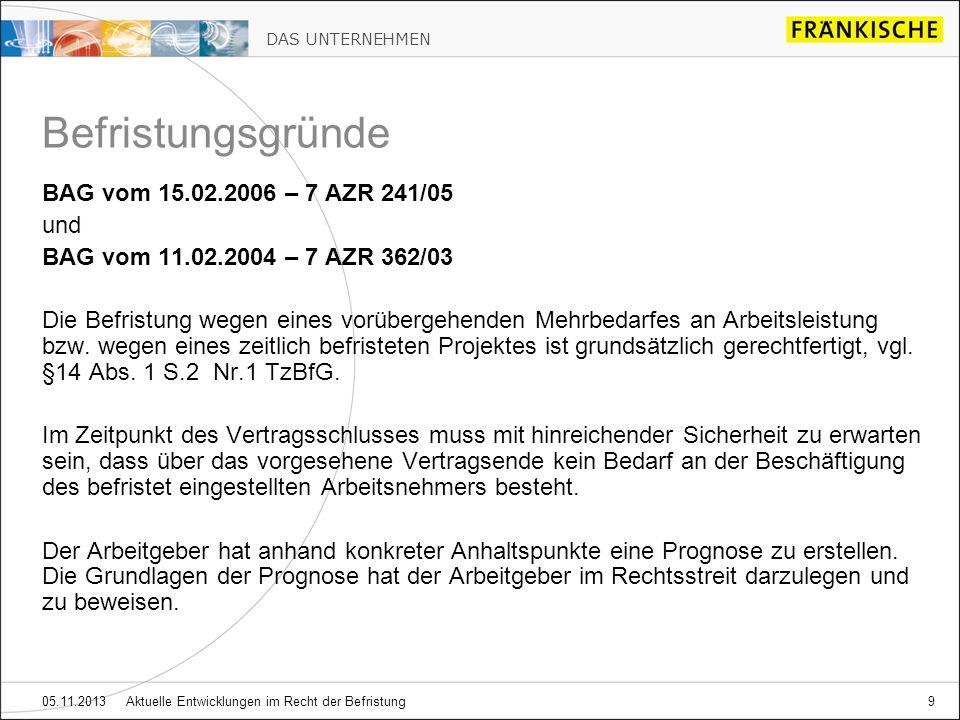 Befristungsgründe BAG vom 15.02.2006 – 7 AZR 241/05 und
