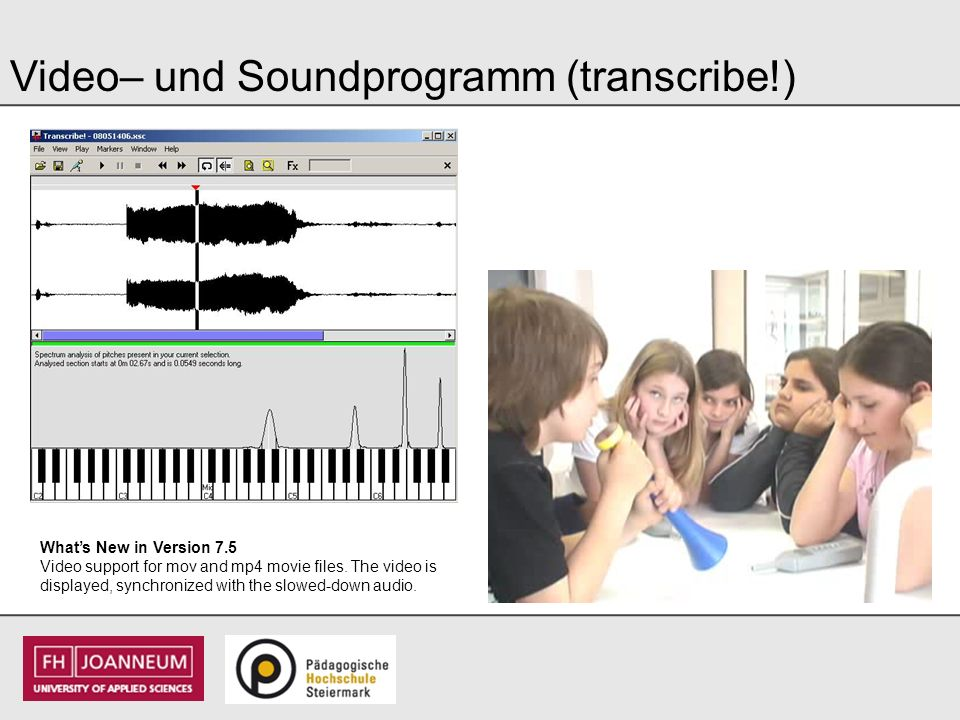 Video– und Soundprogramm (transcribe!)