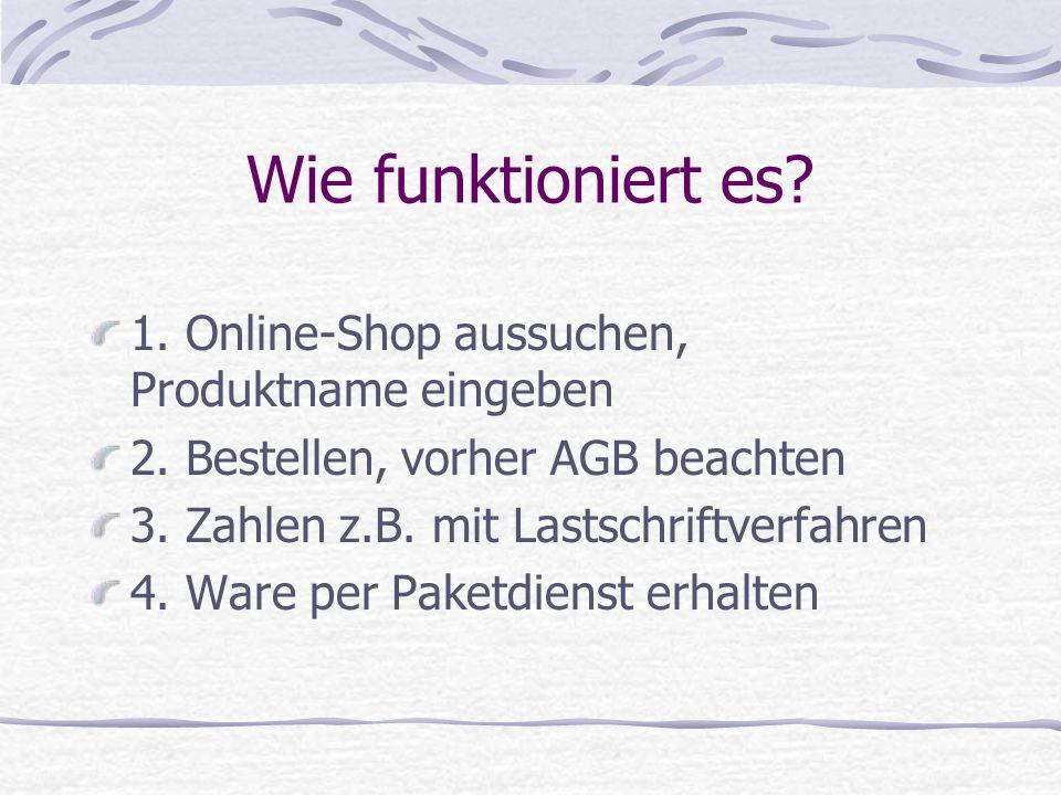 Wie funktioniert es 1. Online-Shop aussuchen, Produktname eingeben