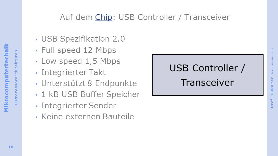Auf dem Chip: USB Controller / Transceiver