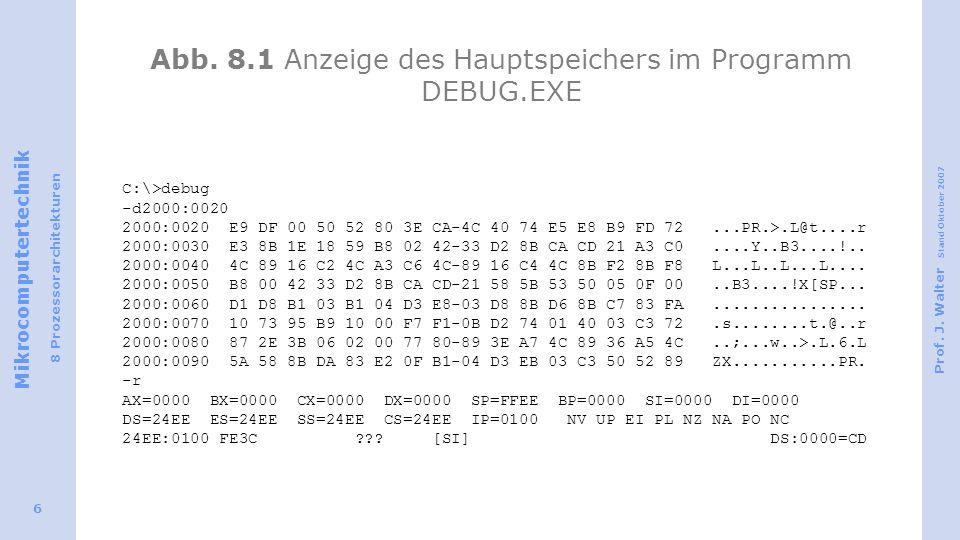 Abb. 8.1 Anzeige des Hauptspeichers im Programm DEBUG.EXE