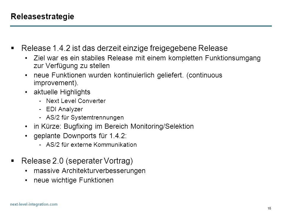 Release 1.4.2 ist das derzeit einzige freigegebene Release